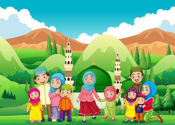 Família muçulmana na mesquita