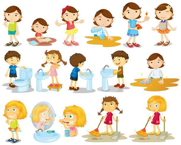 Niñas y niños haciendo tareas