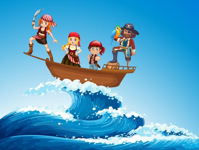 Pirates en bateau dans la mer vecteur