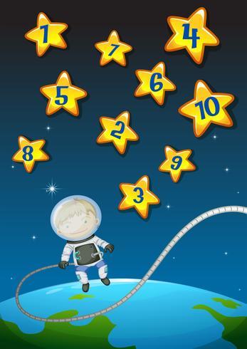 Nummers op sterren en astronaunt vliegen