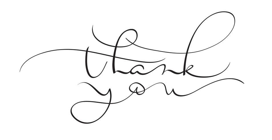 dank u vectortekst op witte achtergrond. Kalligrafie belettering illustratie EPS10 vector