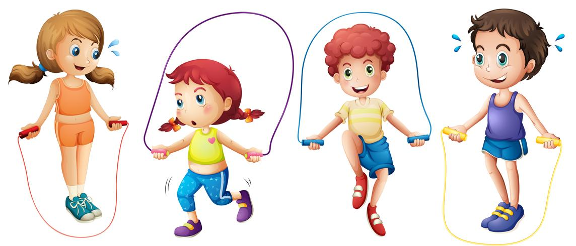 Niños y jumprope vector