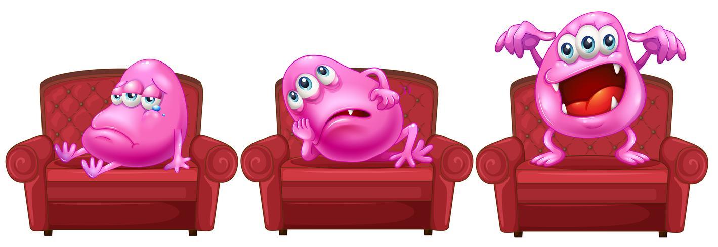 Röda stolar med rosa monster