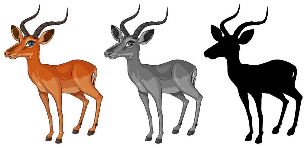Set av gazelle karaktär