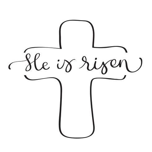 Han är uppstånden text med kors på vit bakgrund. Kalligrafi bokstäver Vektor illustration EPS10