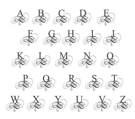 art calligraphy alphabet. Vector illustration EPS10