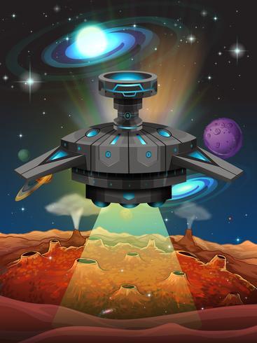 Ruimteschip dat in de donkere ruimte vliegt