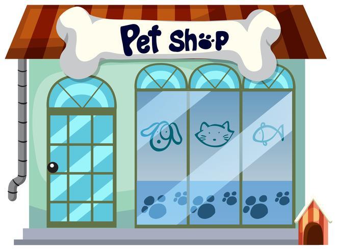 Una tienda de mascotas sobre fondo blanco vector