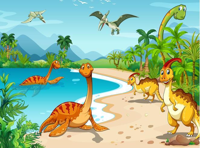Dinosaurios viviendo en la playa