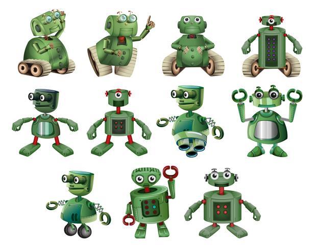 Groene robots in verschillende acties