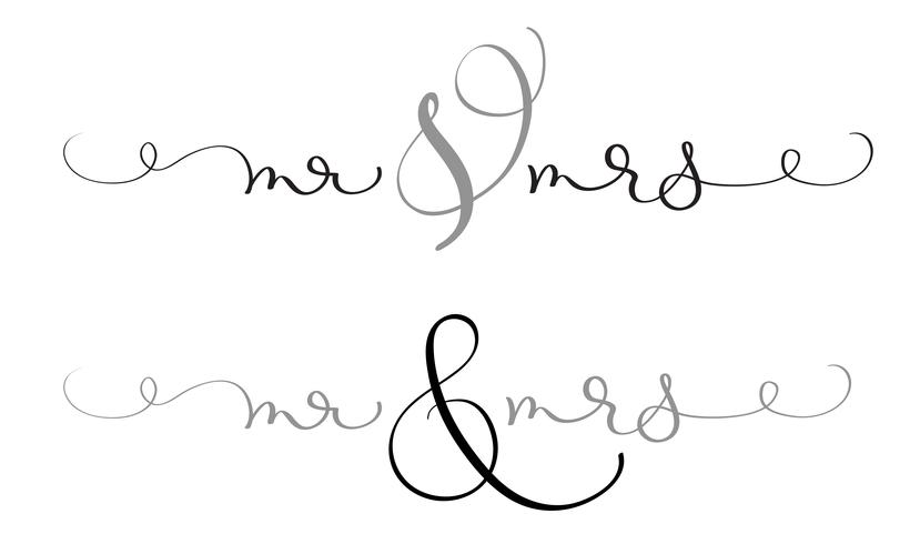 Mr and Mrs text on white background. Hand drawn Calligraphy lettering Vector illustration EPS10