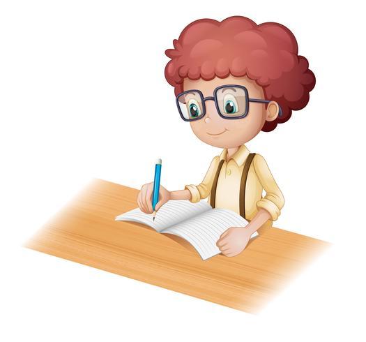 A nerd boy writing vector