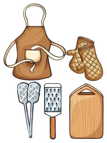 Ustensiles de cuisine avec tablier et mitaines