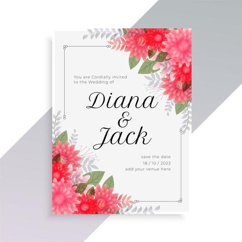 modelo de convite de casamento com arte floral bonita