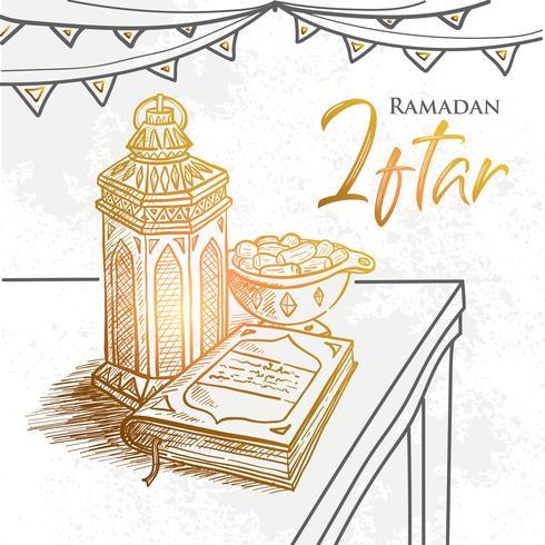 Vector mano dibujada celebración de la fiesta de Ramadán Iftar. Asignaturas tradicionales. La fiesta musulmana del mes sagrado de Ramadán Kareem.