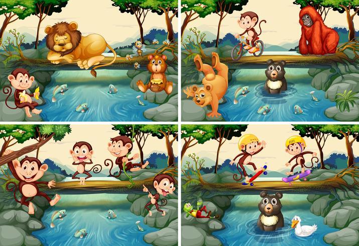 Vier Szenen mit wilden Tieren im Fluss