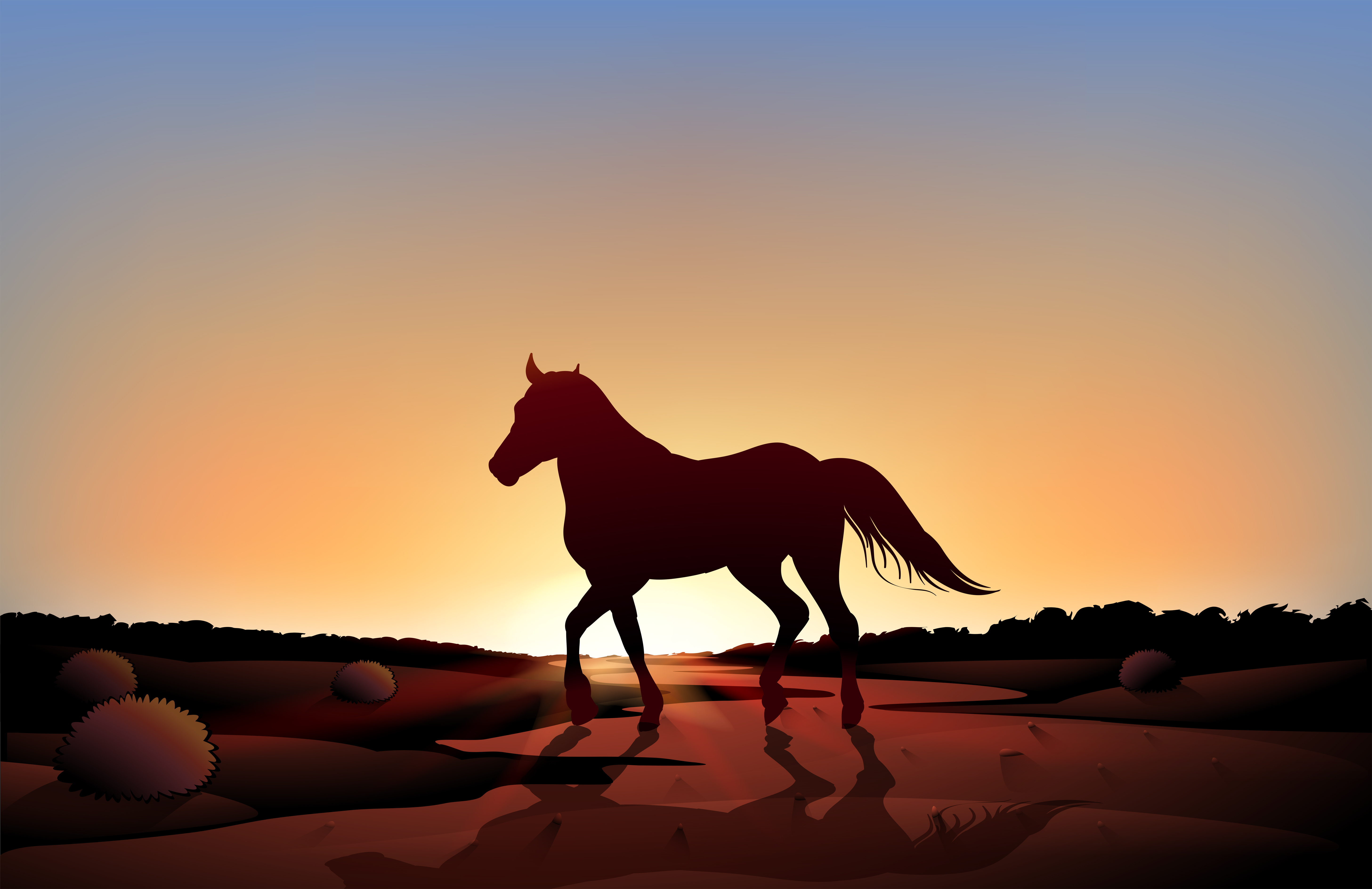 Un Caballo En Un Paisaje Al Atardecer En El Desierto