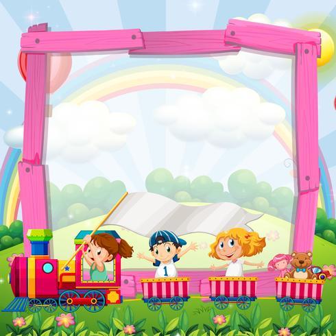 Diseño de la frontera con niños en el tren.