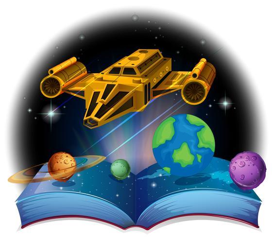 Libro di Sciene con astronave e sistema solare