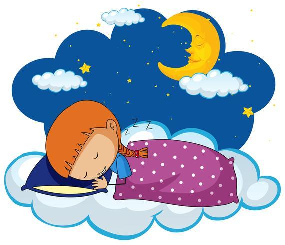 Nettes Mädchen, das auf blauem Kissen schläft