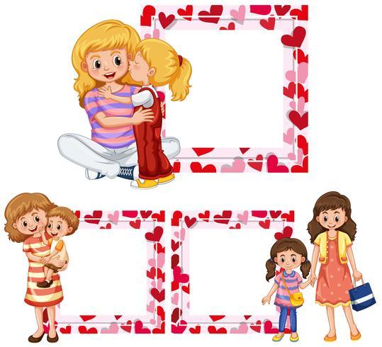 Hartframe-sjablonen met moeder en kinderen