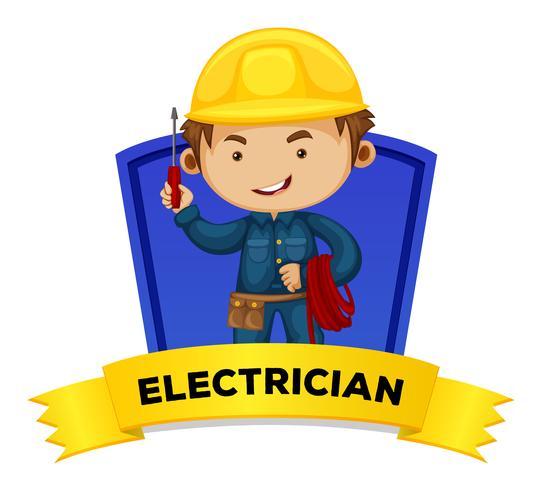 Beroepswoordkaart met woordelektricien