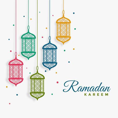 lanternas de suspensão decorativas fundo de ramadan kareem