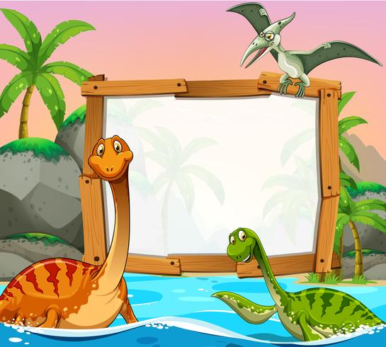 Border template with dinosaurs in the ocean