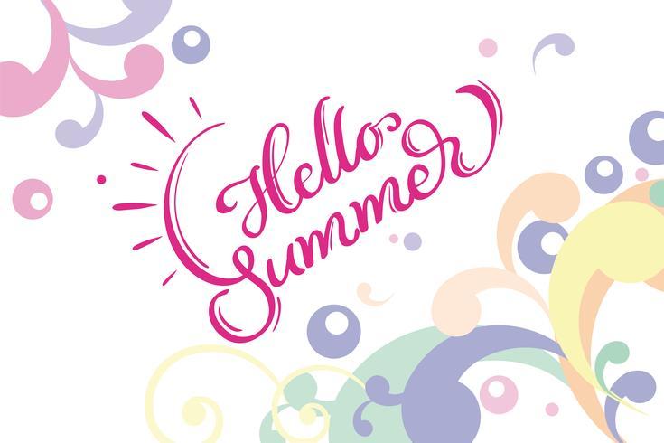 Ciao parole di estate sulla cornice di sfondo bianco. Illustrazione EPS10 di vettore dell'iscrizione di calligrafia