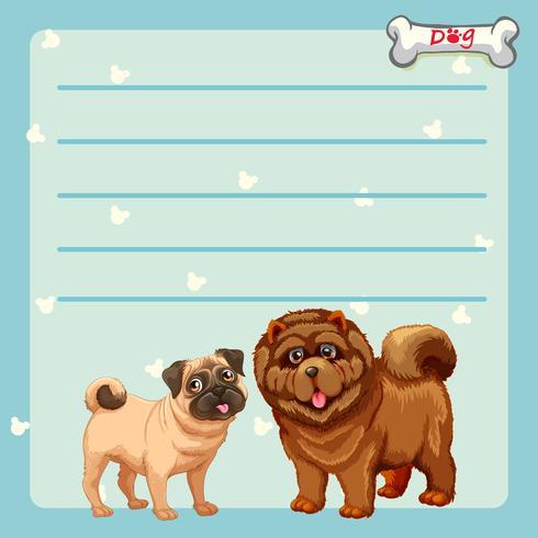 Papierdesign mit zwei süßen Hunden
