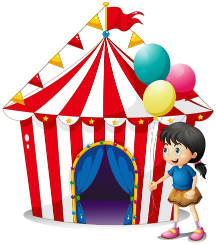 A girl with balloons in front of the circus tent vector