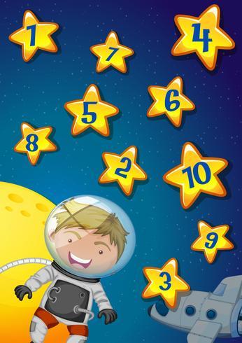 Números, estrelas, astronauta, voando, espaço