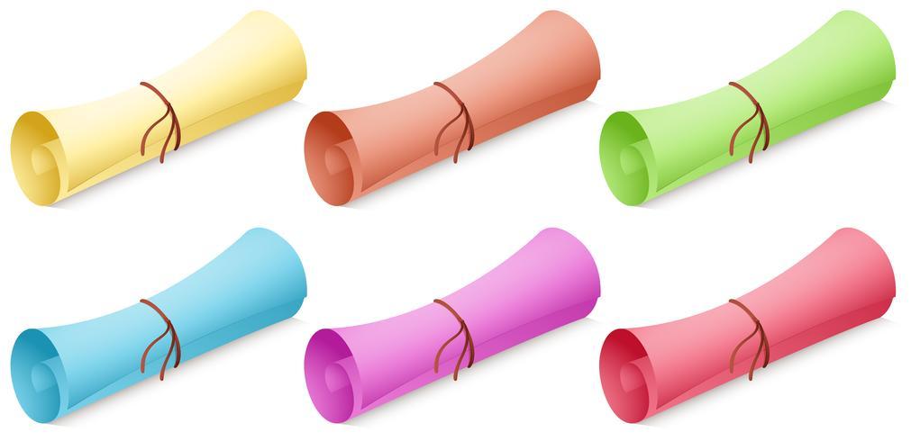 Rollo de papel en diferentes colores.