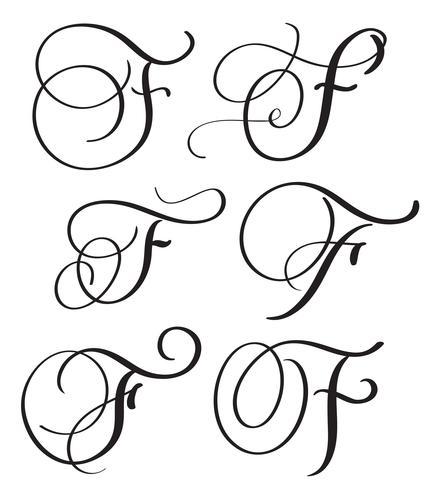 Satz von Kunstkalligraphie-Buchstaben F mit Verzierung von dekorativen Quirlen der Weinlese. Vektorabbildung EPS10