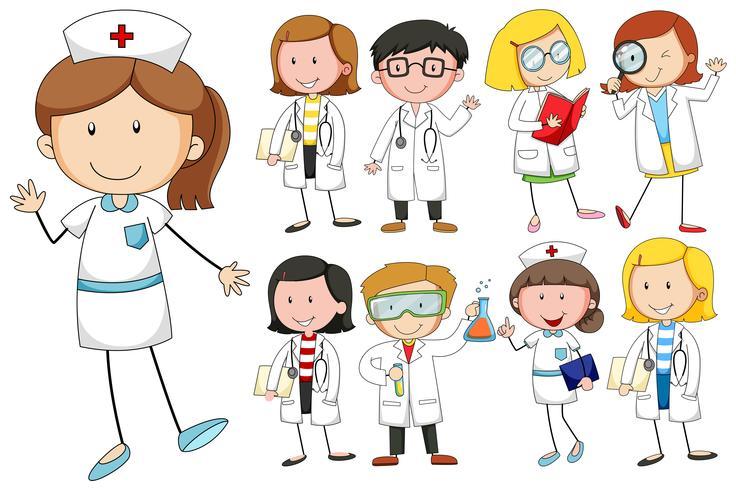 Enfermeras y doctores en el fondo blanco