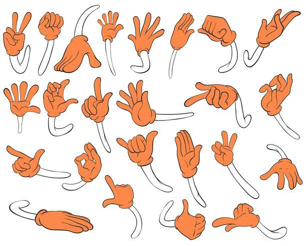 Set van oranje handen