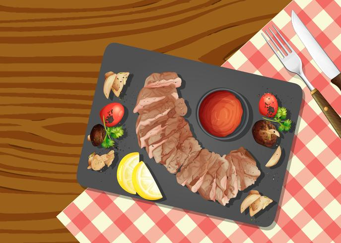 Una vista superior de la carne