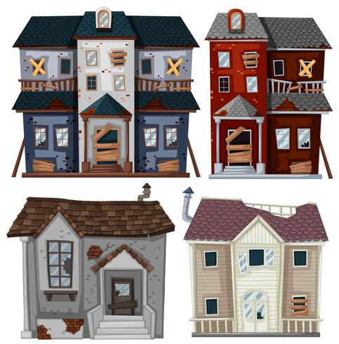 Old houses in very bad condition vector