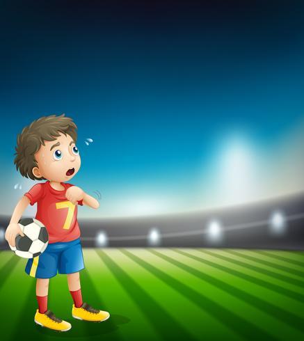 Um, cansado, jogador de futebol, em, estádio