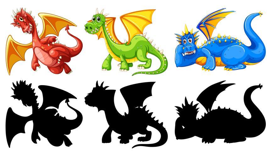 Ensemble de personnage de dragon