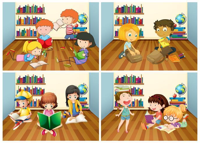 Studenter läser bok i rummet