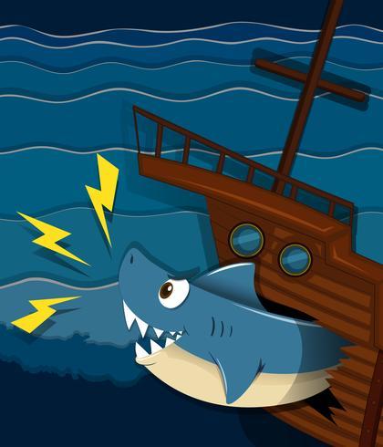 Naufragio y ataque de tiburones bajo el agua.