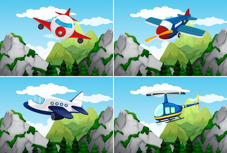 Planes and helicopter flying over the mountains