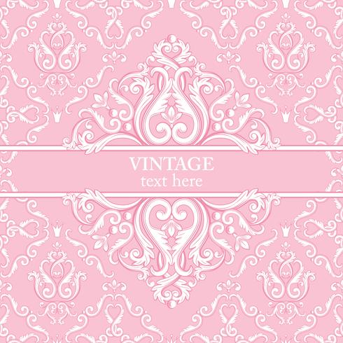 Tarjeta de la plantilla con el fondo real barroco abstracto en colores rosados y blancos.