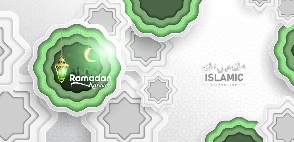 Ramadan Kareem Achtergrondpapierkunst of papierstijl met Fanoos-lantaarn, halve maan en moskee-achtergrond. Voor webbanner, wenskaart & reclamesjabloon in Ramadan Holidays 2019. vector