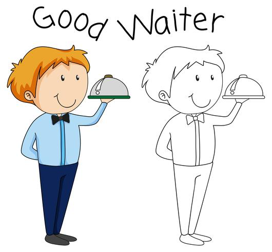 Doodle waiter character with serving tray