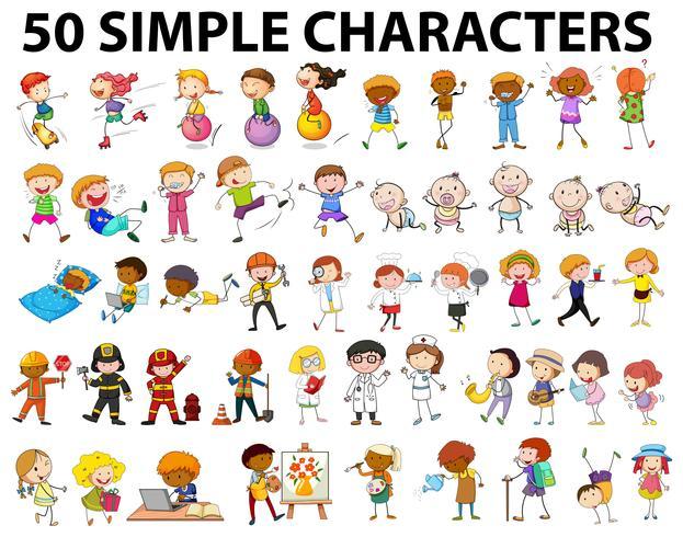 Cinquante personnages simples, jeunes et vieux