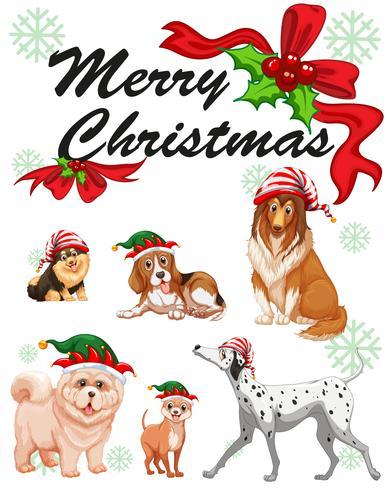 Plantilla de tarjeta de Navidad con perros lindos
