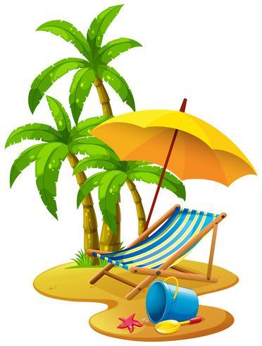 Escena de playa con silla y sombrilla.