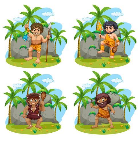 Muchos cavernícolas con diferentes armas.